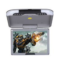 """13"""" LCD TFT Car Ceiling Flip Down Overhead Roof Mount Wide Screen Monitor Grey"""
