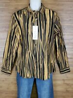 NEW Coofandy Orange Striped Graphoc Button Front Shirt Mens Size Medium M NWT
