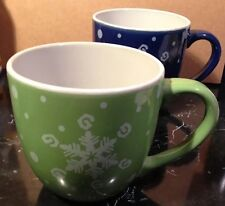 Royal Norfolk Snowflake Winter Coffe Cup Mugs Blue And Green Set Of Two