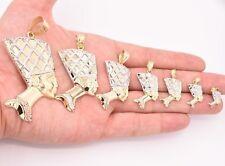 Egyptian Queen Nefertiti Head Diamond Cut Pendant Real 10K Yellow White Gold