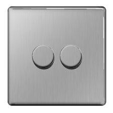 BG Nexus FBS82P - Screwless Flat Plate Brushed Steel 2 Gang Double Dimmer Switch