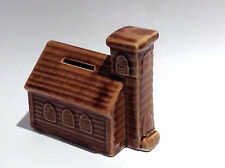 Vintage Ceramic Coin Bank: Clapboard Church (Light Brown)
