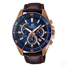CASIO Edifice Chronograph Rose Gold Ion Plated Watch Leather Band EFR-552GL-2AV