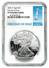 2020 S 1oz Silver Eagle Proof Ngc Pf70 Ultra Cameo First Day Issue Label Presale