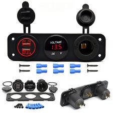 Multi Function 2 USB Charger & Voltmeter 12V Outlet Socket Panel Marine Car Boat
