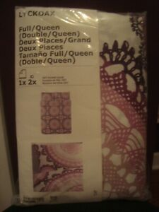 IKEA Full (Double) Queen Medallion Lilac Duvet Cover w/2 Pillowcases Bed Set NOS