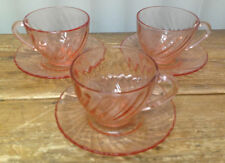 Arcoroc France French Pink Swirl Glass Rosaline ACO17 Pastel 3 Cup Saucer Sets