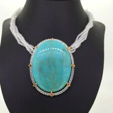NECKLACE RING TURQUOISE center stone silver crystals CITRINE POSITIVE ENERGY
