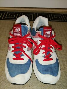 New Balance US574M1 Cream Red Blue Denim Made in USA Sz 10.5 Suede Running Shoes