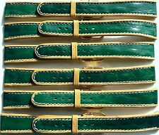 LOT OF 6 16mm FLEURUS GLOSSY GREEN STRIPE ON TAN CALF LEATHER WATCH BAND / STRAP
