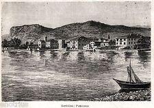 Bardolino: Panorama. Lago di Garda. Verona. Stampa Antica + Passepartout. 1901