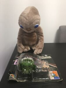 """E.T. and Spaceship Launcher New and 12"""" E.T. Stuffed Doll Vintage 1982 Used"""