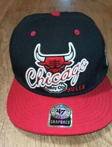 Forty Seven Chicago Bulls Windy City Cap Black Red Snapback Hat
