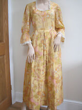 Vintage 1970s Silky Lace Edged Yellow Orange Psychedelic Maxi Dress 36 Bust