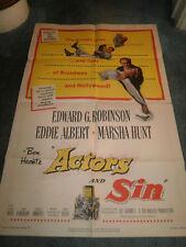 ACTORS AND SIN(1952)E.G. ROBINSON ORIGINAL 1SHEET POST+