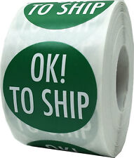 Green with White Ok To Ship Stickers, 1.5 Inches Round, 500 Labels on a Roll