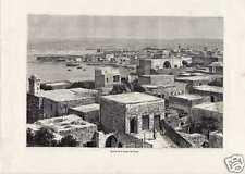 Antique print Tyrus Lebanon Sidon Sur haven harbor 1882