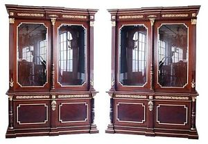 Pair of Antique French Empire Curio cabinet/Bookcases #5790