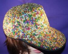 Rainbow Sequin Baseball Cap gittering all colors with ponytail hole