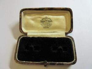 ANTIQUE EDWARDIAN TOOLED LEATHER CUFFLINKS BOX - Dewhirst Bros., Bridlington!