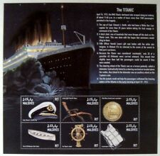 1998 MNH MALDIVES TITANIC STAMPS SHEET CRUISE SHIP BOAT ICEBERG OCEAN LIFEJACKET
