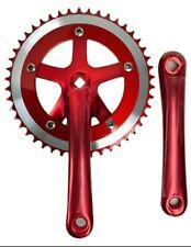 Bicycle Crankset Single Speed 46T, 170mm Crank Arms, Square Taper, Red Aluminum
