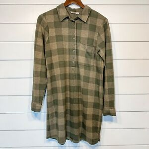 Soft Surroundings SMALL Mad About Plaid Green Long Top Tunic Loungewear Roll Tab