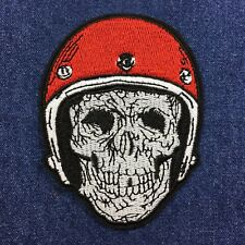 Biker Skull with Crash Helmet - Cafe Racer Embroidered Patch - Iron-on / Sew-on