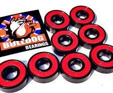 * 8 Pack USA Bulldog 608 Rosso Super Liscio Cuscinetti Skateboard + un adesivo