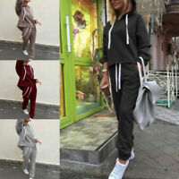 2Pcs Lady Hoodies Sports Tops Pants Tracksuit Sweatshirt Sweat Suit Jogging Set
