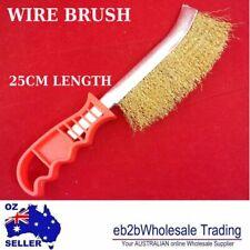 WIRE BRUSH PLASTIC HANDLE Brass color 24 CM LENGTH PAINT CLEAN BUILDING BULK