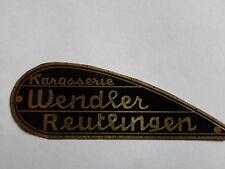 Typenschild Wendler Karosserie Porsche Gutbrod Benz Schild Plakette Messing S9 L