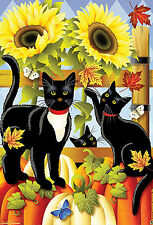 """New listing Pumpkin Patrol 28""""x40"""" House Flag By Jeremiah Junction Black Cats Fall"""