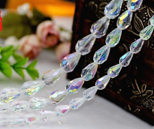 50pcs White AB Straight hole Water drop Crystal Loose Spacer bead crystal Beads