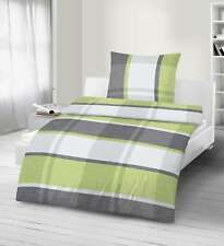 2 teilig Bettwäsche 135x200 cm silber grün Fein-Biber Baumwolle B-Ware