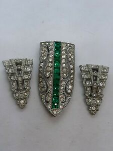 Lot 3 of Vintage Antique Art Deco Rhinestone Shoe Scarf Clips