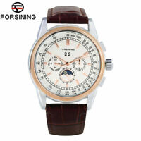 FORSINING Leather Strap Moon Phase Men Self-Wind Mechanical Wrist Watch Gift