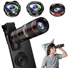 Cell Phone Camera Lens Kit 5 in 1 Zoom 12X Telephoto+ 0.36X Wide Angle+ X15Macro