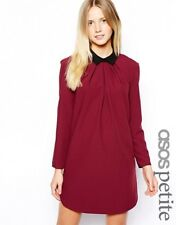 ASOS - PETITE Exclusive Shift Dress with Pleat Detail Collar - contrast collar
