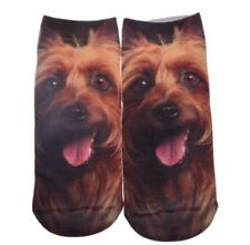 Low cut dog socks - yorkshire terrier novelty - friendly tongue showing canine