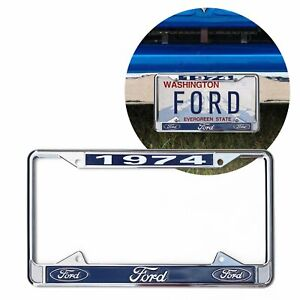1974 Ford Chrome Dealer License Plate Frame Blue Oval for Car Truck F100 GT FMC
