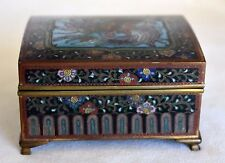 Antique Meiji Inaba Millefleur Phoenix HoHo Bird Japanese Cloisonne Table Box