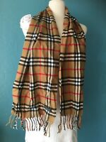 Burberrys Beige Checkered Nova Check Lambswool Scarf Neck Warmer Auth