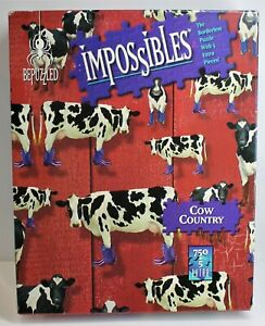 BEPUZZLED IMPOSSIBLES COW COUNTRY PUZZLE 750 + 5 PIECES 1998 USA MADE COMPLETE