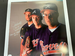 "JOHN SMOLTZ SIGNED 16""x16"" PHOTO - MULT INSC - JSA WITNESSED - ONE OF ONE"
