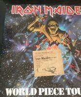 IRON MAIDEN STEVE HARRIS TWICE SIGNED 1983  vintage ticket stub and tour program