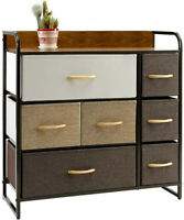 Chest of Fabric Drawers Dresser Furniture 7 Bins Bedroom Storage Organizer US