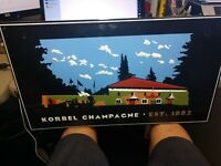 Vintage Korbel Champagne Wine Metal Tin Advertising Sign