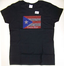 New GILDAN heavy cotton RHINESTONE studded PUERTO RICO FLAG black T SHIRT sz M