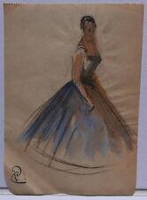 Dessin Original Aquarelle PAUL COUVREUR Robe Bleu vers 1930 PC127